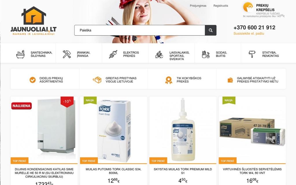 Internetinės parduotuvės programavimo darbai JAUNUOLIAI