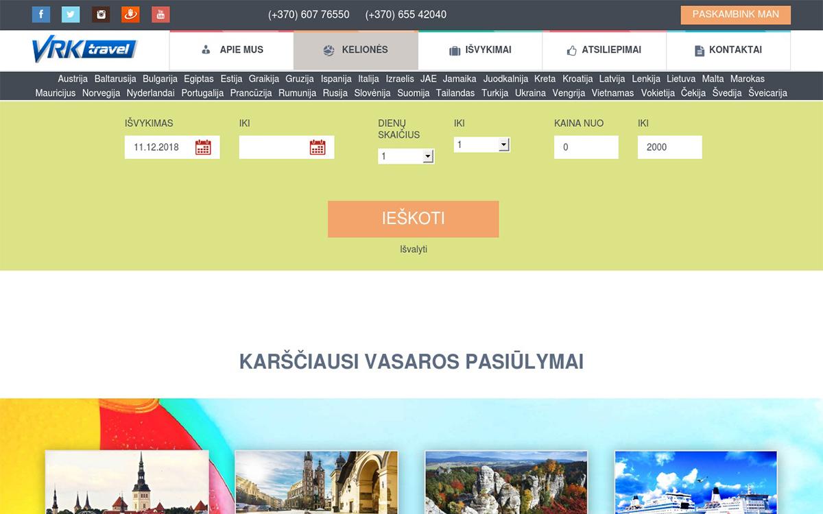 VRKTRAVEL LATVIJA internetinės svetainės programavimas